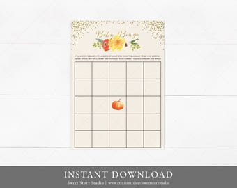 Watercolor Pumpkin Baby Shower Bingo Game | DIY Printable Digital File | A Little Pumpkin is on the way | DC004