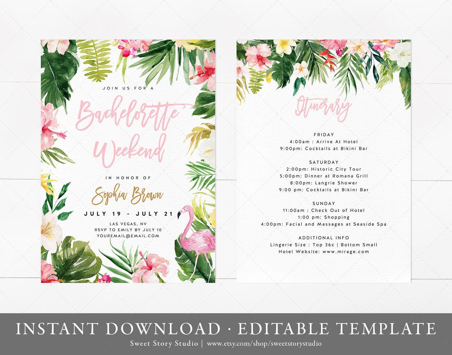 Tropical Flamingo Bachelorette Weekend Invitation and | Etsy