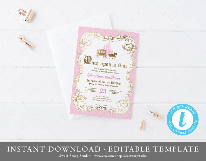 Once Upon A Time Birthday Invitation Card Instant Download Templett Printable Pink And Gold Girls Princess Birthday Party Dc073