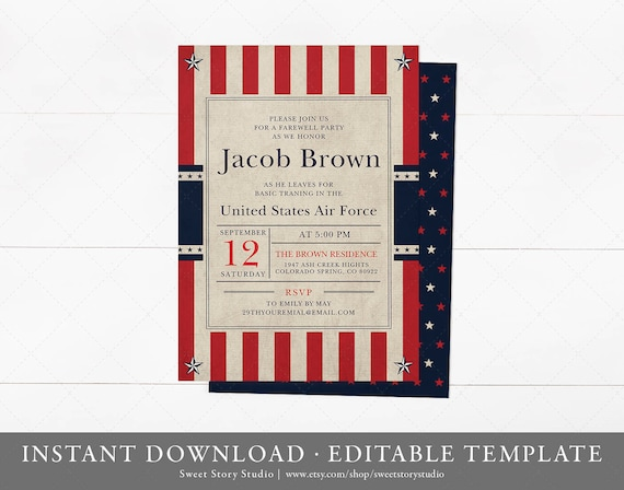 Military Going Away Party Invitation Instant Download Templett Printable Retirement Deployment Commissioning Patriotic Dc063