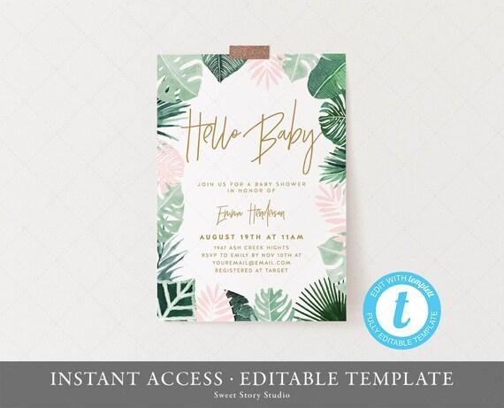Tropical Baby Shower Invitation Card Instant Download Templett Printable Flamingo Boho Summer Tropical Hawaiian Pool Dc138