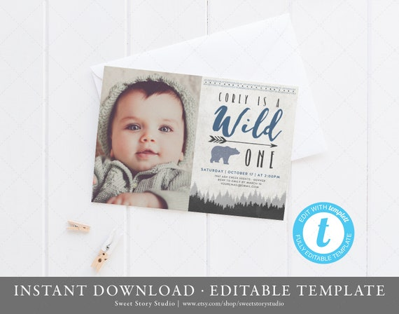 Wild One First Birthday Invitation Card Instant Download Templett Printable Camping Woodland Lumberjack Bear Boy Dc060
