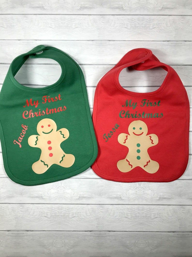 Gingerbread man with Baby/'s Name,Red or Green Cotton Bib Personalized Christmas gift bib