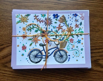 Set of 10 Bicycle Greeting Cards