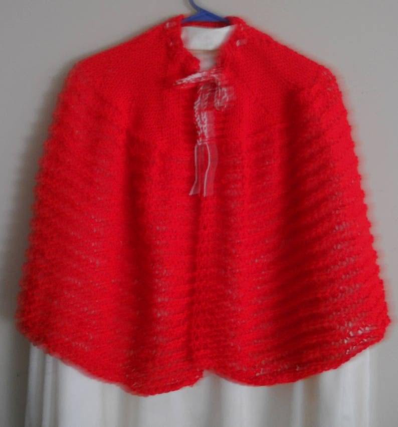 Size medium Copied from authentic 1800/'s pattern. Bright red  hand knit 1800/'s summer sweater cape or shawl