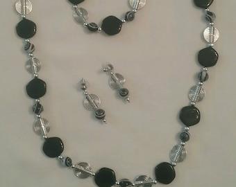 Black Spiral Jewelry Set (#136)