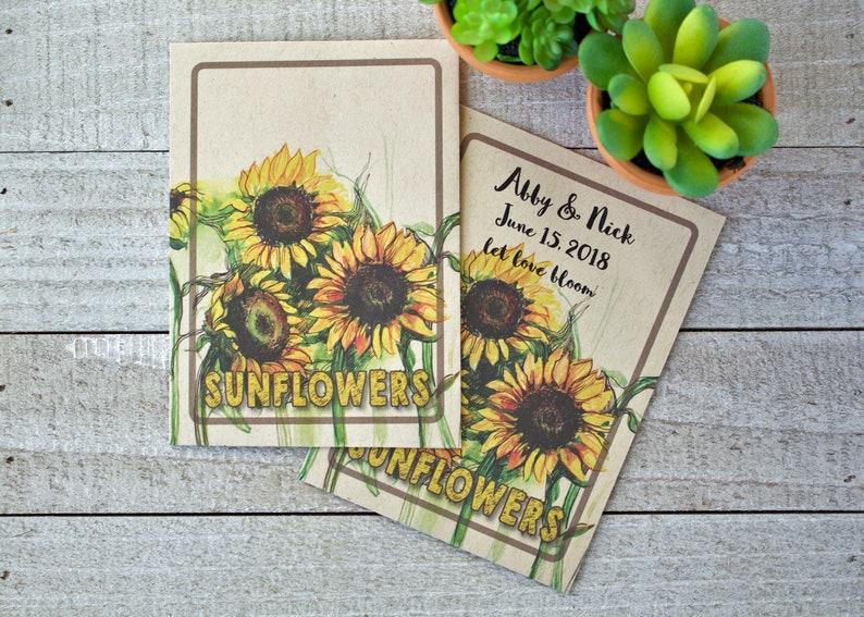 50 Sunflower Seed Kraft Packets in bulk wedding favor image 0