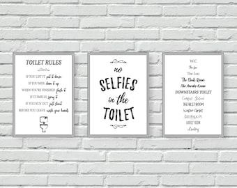 Genial Toilet Wall Prints, Bathroom Wall Art, Set Of Three, Cloakroom, W.C, Black  And White, Mono, Downstairs Loo, Wall Decor, Bathroom Decor, A4