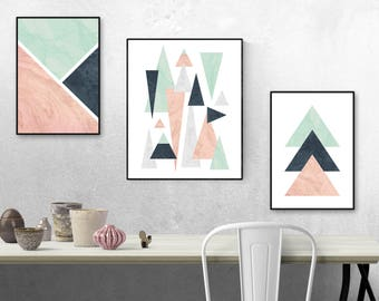Geometric Wall Art, Triangle Wall Prints, Pink, Mint And Blue Shapes, Wall  Decor, Art, Posters, Set Of Three, Abstract Art, Bedroom Decor
