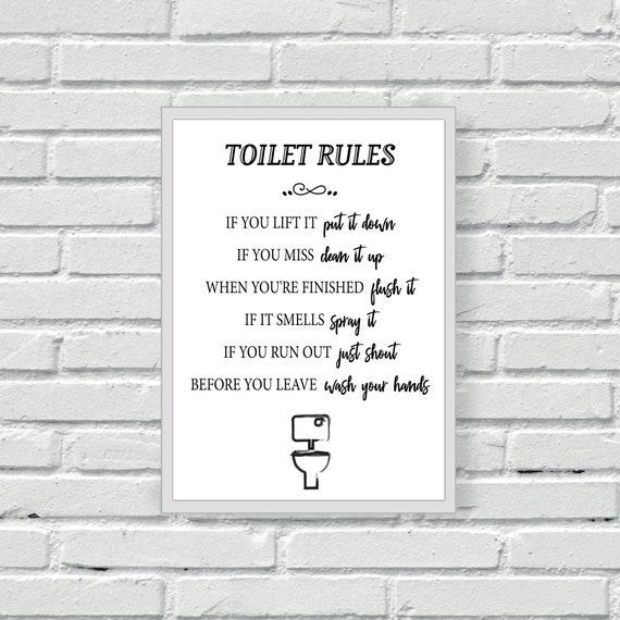 Toilet Rules Wall Print Bathroom Wall Art Cloakroom W C Etsy