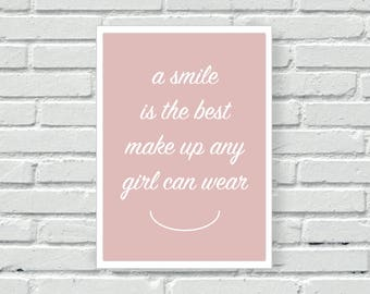 Beauty quote print, smile is the best make up, wall decor, blush pink and grey, colour wall print, wall art, living room print,