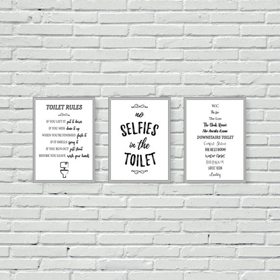 Toilet Wall Prints Bathroom Wall Art Set Of Three Etsy