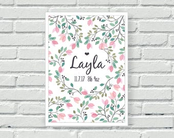 Personalised girls nursery print, watercolour, pink, new Baby gift,  floral wall art, child's custom wall decor, new mum gift, bedroom, A4