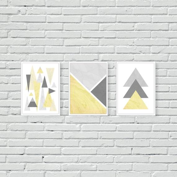 Juego de 3 Amarillo escandinavo línea geométrica Poly Stag Pared Arte Impresiones Cartel