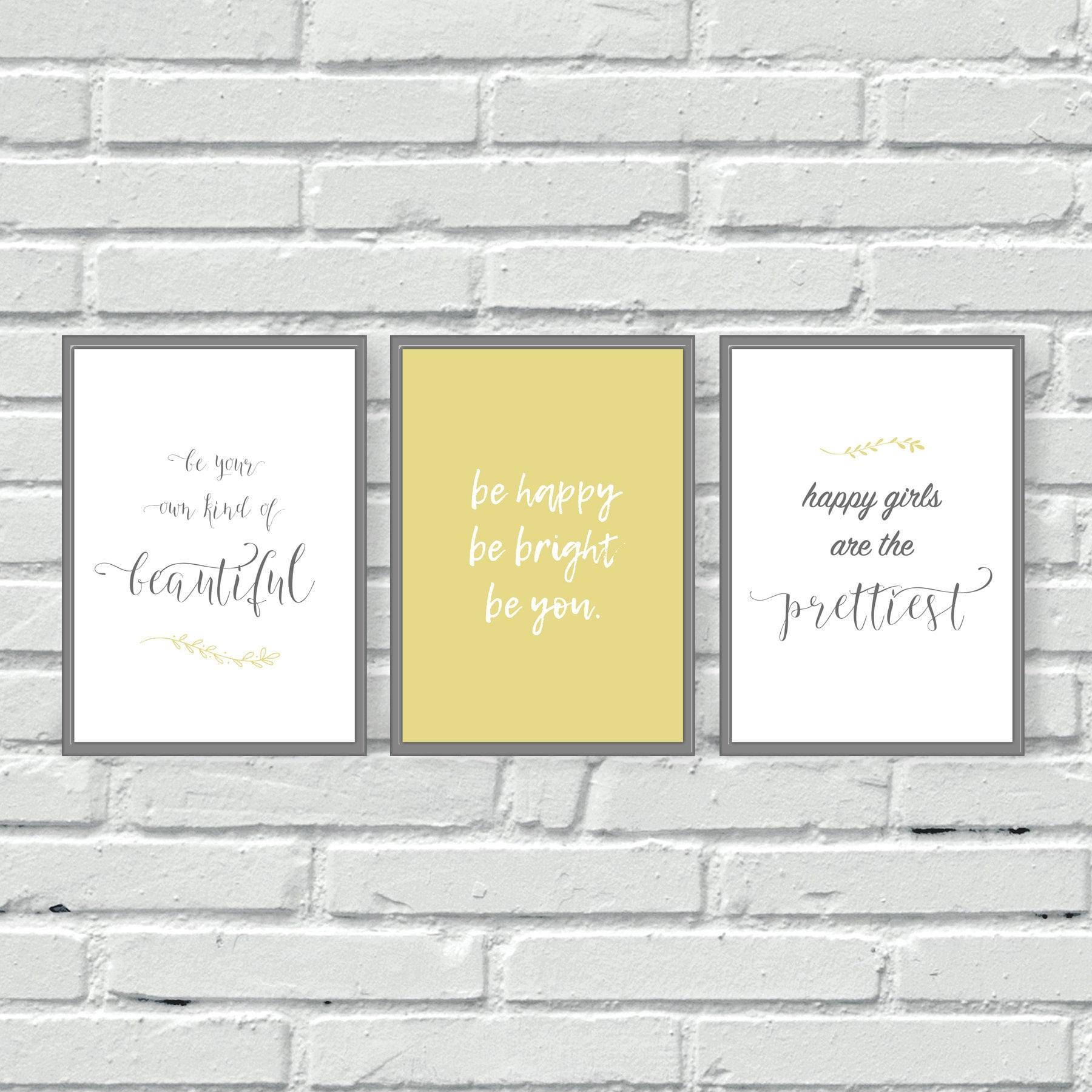 6cad24e7db9 Yellow and grey wall prints set of three wall art