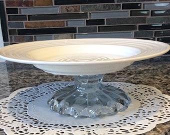 Serving Plate on Pedestal / Repurposed /
