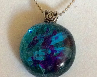 FREE SHIPPING Glass Pendant, Hand Painted