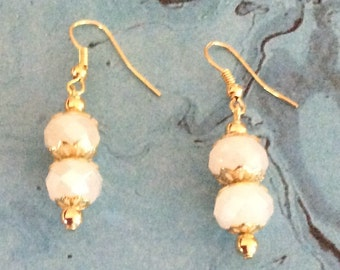 FREE SHIPPING, Earrings, white faceted beads and gold color spacers