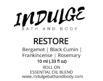 Restore - Essentials Collection - Bergamot Black Cumin Frankincense Rosemary Essential Oil Roll on .33 oz by Indulge Bath and Body