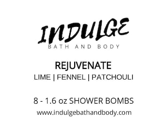 Rejuvenate - Essentials Collection - Lime Fennel Patchouli Essential Oil Shower Steamer 8 pack by Indulge Bath and Body