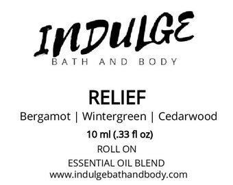 Relief - Essentials Collection - Bergamot Wintergreen Cedarwood Essential Oil Roll on .33 oz by Indulge Bath and Body