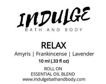 Relax - Essentials Collection - Lavender Frankincense Amyris Essential Oil Roll on .33 oz by Indulge Bath and Body