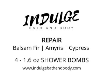 Repair - Essentials Collection - Amyris Balsam Fir Cypress Essential Oil Shower Steamer 4 pack by Indulge Bath and Body