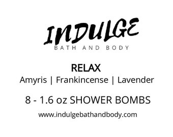 Relax - Essentials Collection - Lavender Amyris Frankincense Essential Oil Shower Steamer 8 pack by Indulge Bath and Body
