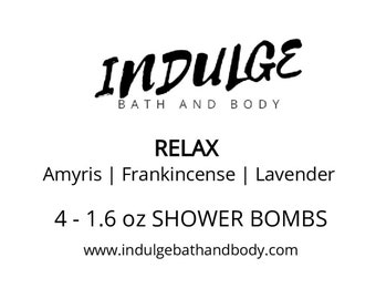 Relax - Essentials Collection - Lavender Amyris Frankincense Essential Oil Shower Steamer 4 pack by Indulge Bath and Body