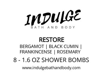 Restore  - Essentials Collection - Bergamot Black Cumin Frankincense Rosemary Essential Oil Shower Steamer 8 pack by Indulge Bath and Body