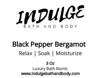 Black Pepper Bergamot Type Bath Bombs - set of 4 (four) of our 3+ oz Luxury Bath Bomb Fizzies by Indulge Bath and Body