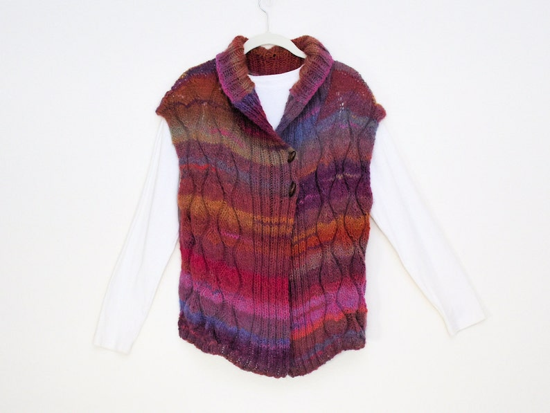 Wool Blend Variegated yarn Hand knitted /& Crocheted trim JacketVest