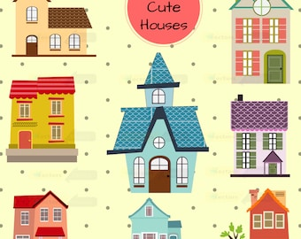 House clipart,House clip art,home clipart,Villa houses digital clipart set,commercial use, christmas house clipart,christmas house clip art