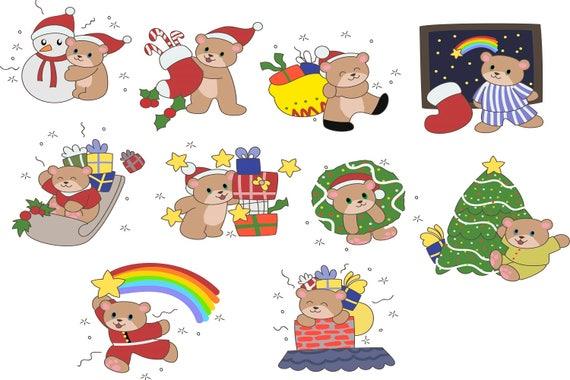 Cute Christmas Clip Art.Christmas Clipart Holiday Clipart Cute Christmas Clip Art Digital Clipart Christmas Printables Bear Xmas Clipart Christmas Diy