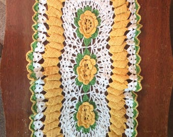 Vintage Crocheted Doily with Yellow Roses