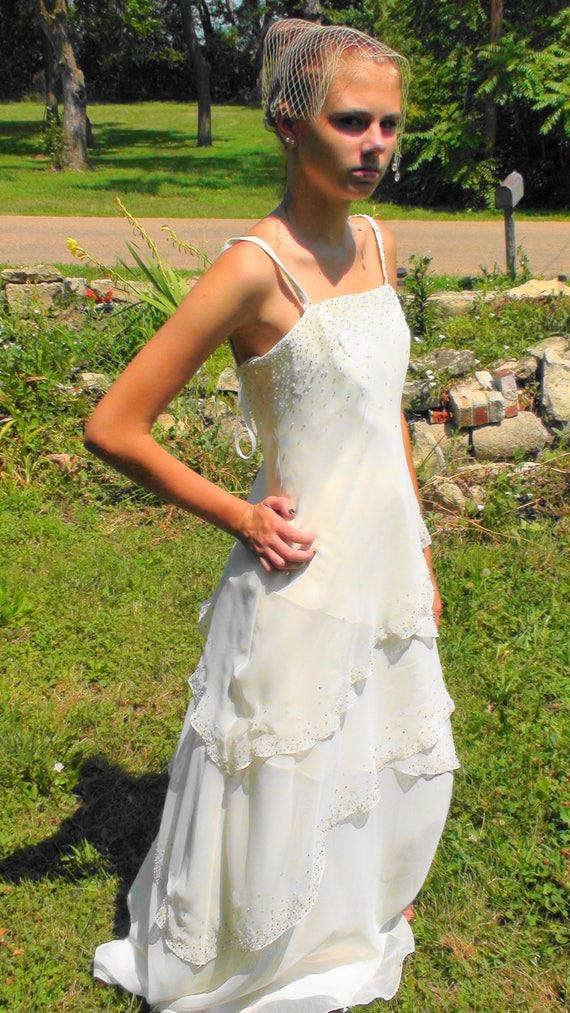 Boho Layered Wedding Dress Ivory