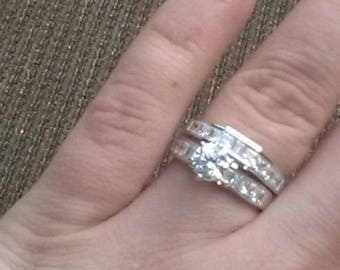 NIB Sterling Silver 6 prong lab created wedding set sz 7