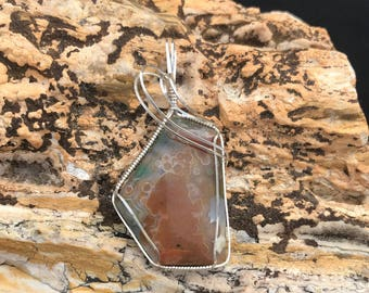 Ocean Jasper Sterling Silver Wire Wrapped Green and Brown Stone Cabochon Pendant Necklace Free Shipping