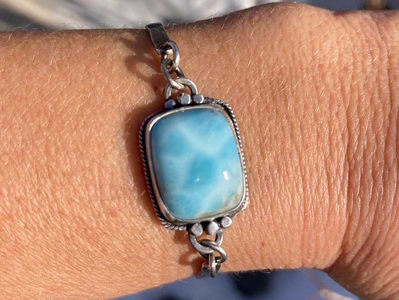 Blue Free Shipping Stone Chain Handmade Lapidary Cabochon Sterling Silver Larimar Bracelet