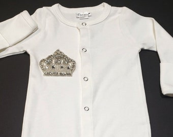 3bb24f667492 Brit Milah Button Down Gown with Crown   Jewish Baby Boy Brit Milah Outfit