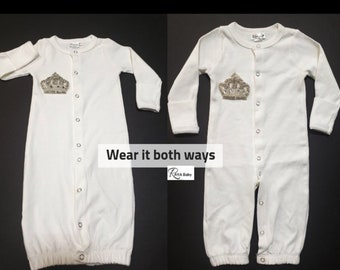 620c13f5e074 Baby Take Home Gown   Rhinestone Gown for Newborn babies  Take home outfit