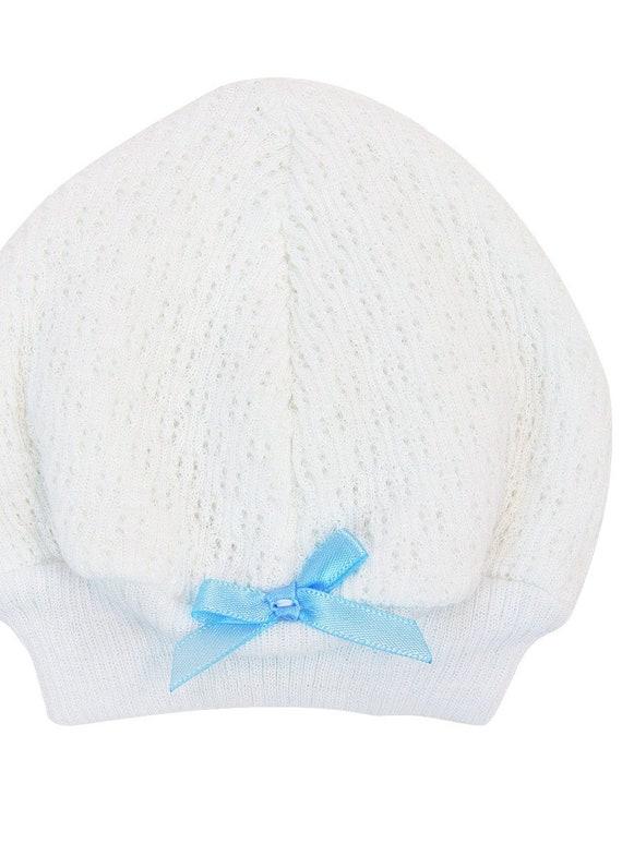 Heirloom Knit Baby Boy Shema Bris Gown Beanie Cap with blue