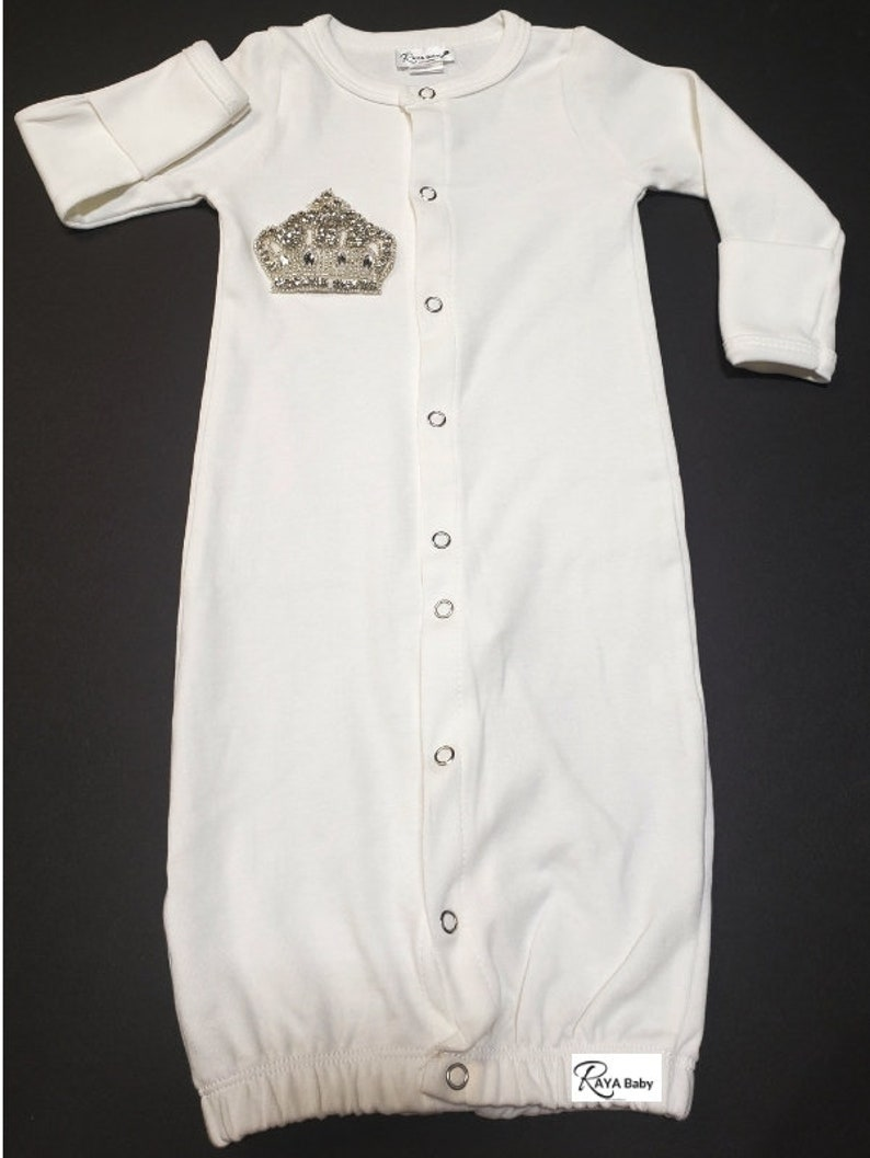 d419aa4e391e Brit Milah Button Down Gown with Crown Jewish Baby Boy Brit