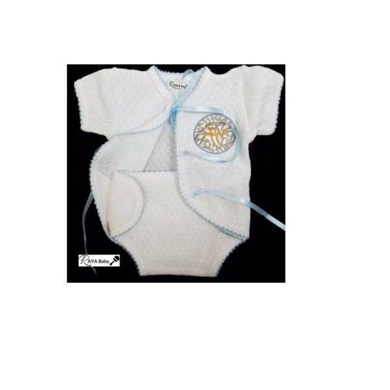 6c27502379ae Brit Milah Outfit Heirloom Knit with Blue Ribbons Shema Baby