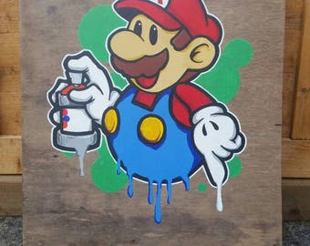 Graffiti Style Super Mario Painting On Wood Panel 20 X 17 1 2