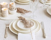 Set of 3 plates, white ceramic plate, handmade dinner plate, ceramic cake plate, minimal plate set, Stoneware dishes for fall barn weddings