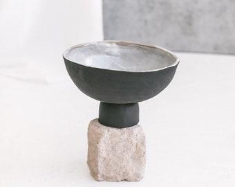 Black pottery decorative bowl, matte unglazed coffee table centerpiece, ceramic pedestal bowl, Modern Farmhouse Decor