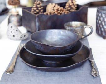 Ceramic dinnerware set Pottery dinner set Serving dishes Stoneware dinnerware Minimalist plate set Rustic dinnerware Handmade & Dinnerware   Etsy