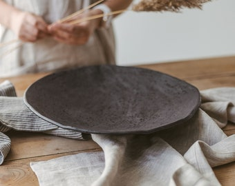 Big contemporary Ceramic Platter, Large Serving Plate, xl black Centerpiece Bowl, rustic catchall, unique mom present, gift-for-sister