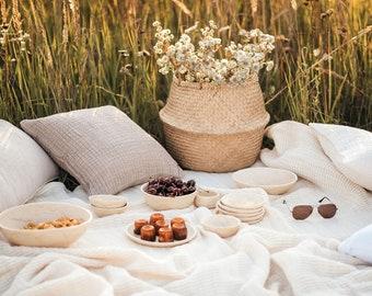 Reusable picnic set, summer outdoors dish set for 4 people, stoneware dinnerware set
